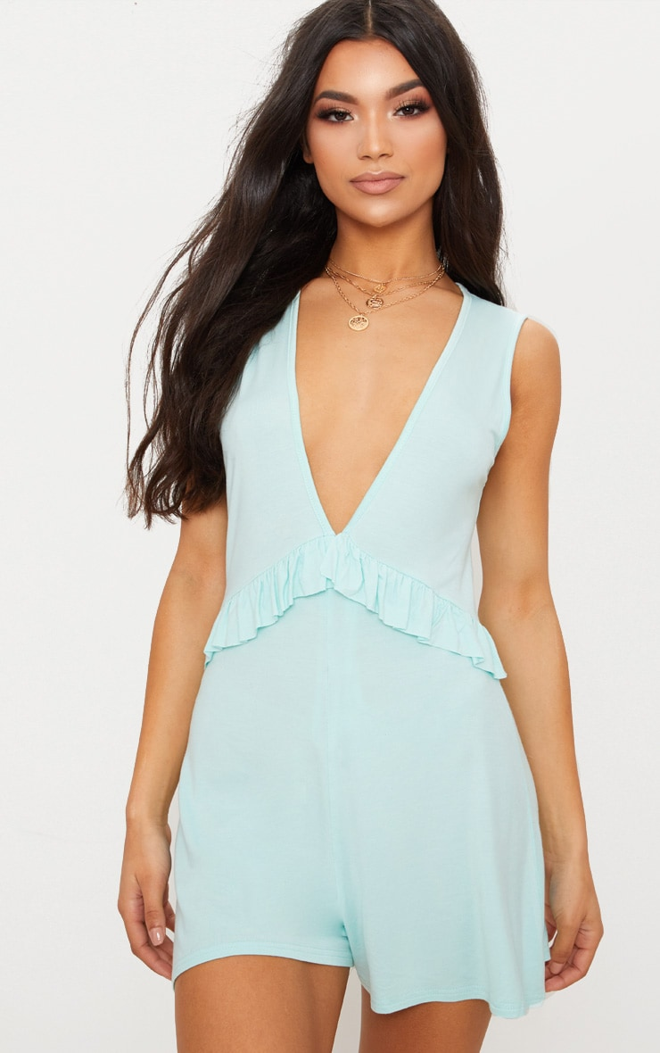 Mint Sleeveless Frill Detail Playsuit 1