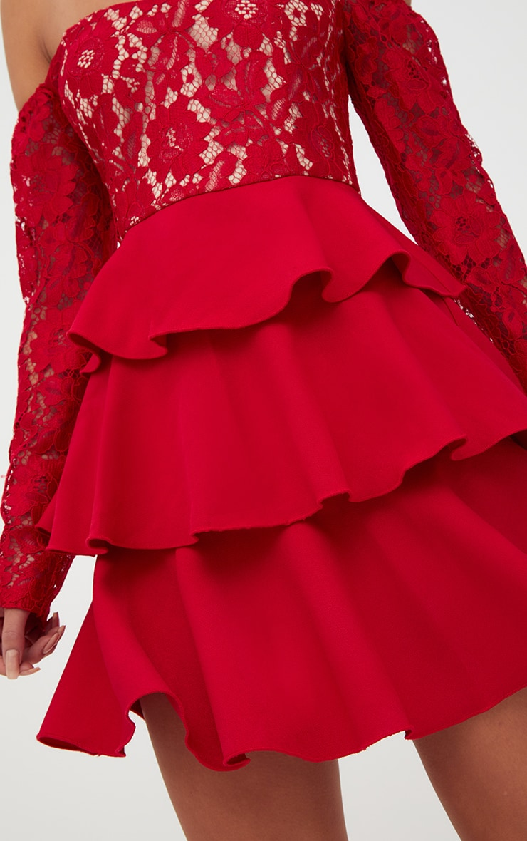 Red Lace Top Frill Detail Skater Dress  5