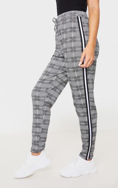 Grey Check Side Stripe Jogger