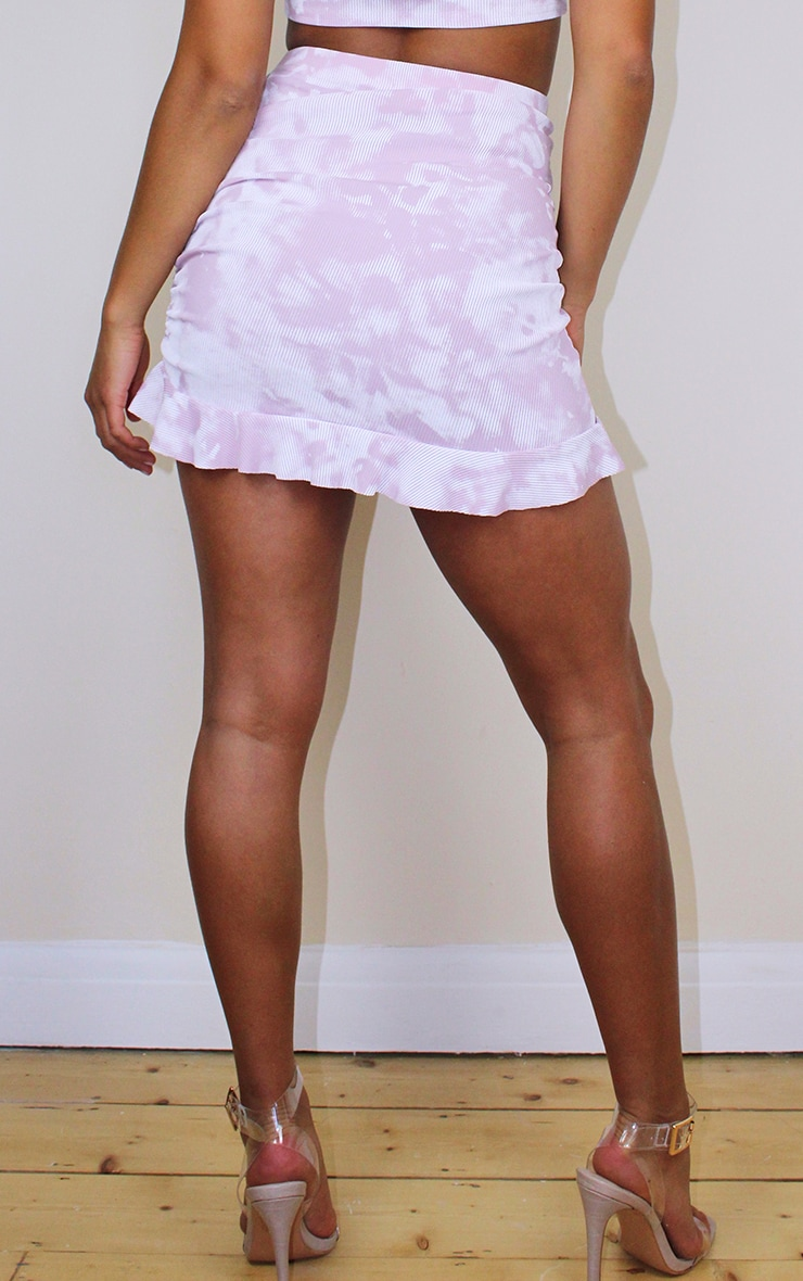 Petite Lilac Ribbed Tie Dye Frill Skirt 3