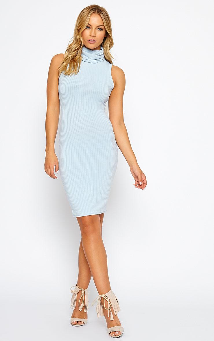 Marissa Powder Blue Ribbed Turtle Neck Mini Dress 5