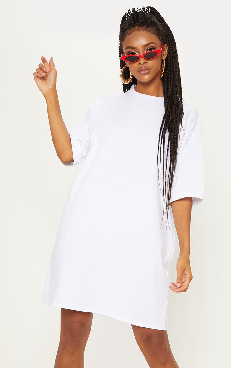 White Oversized Boyfriend Sleeve T Shirt Dress 1