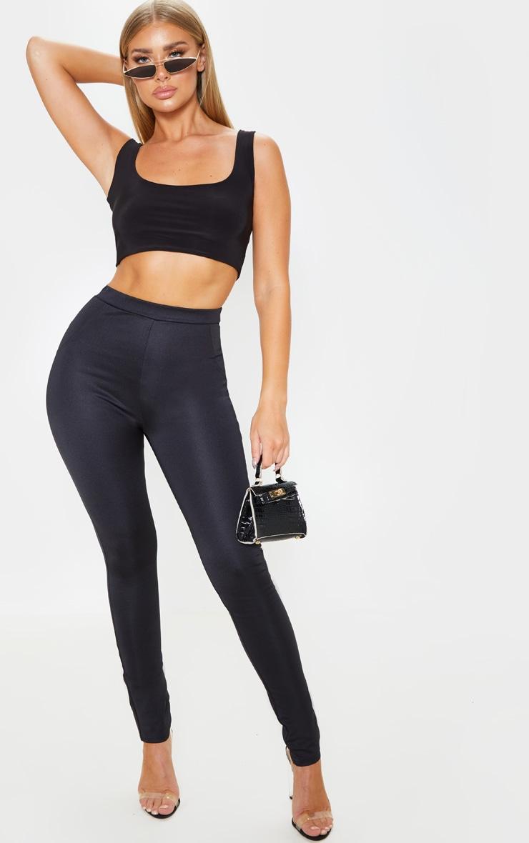 Black Super Stretch Back Pocket Detail Skinny Pants 1