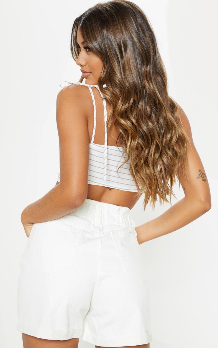 White Stripe Tie Front Cami Crop Top 2
