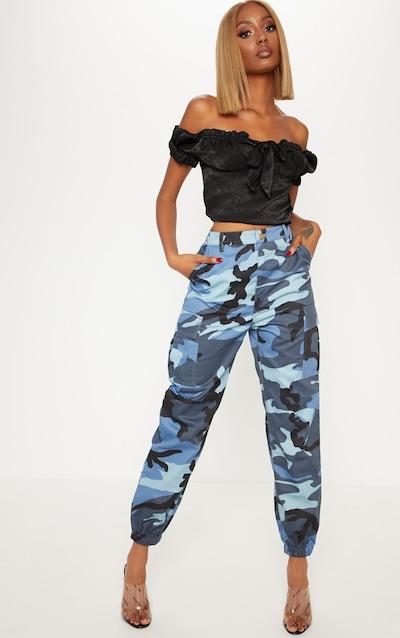 feb9c341176c Blue Camo Pocket Detail Cargo Trousers