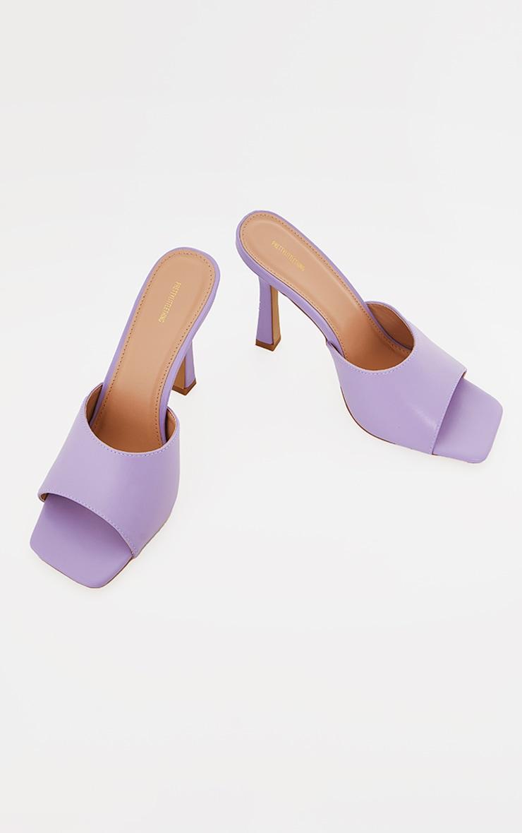 Lilac Square Toe Mule High Heels 4