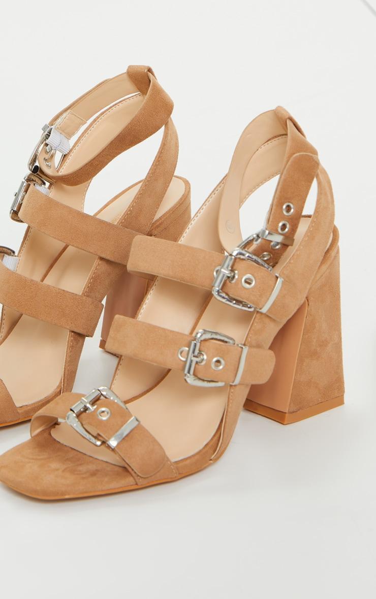Tan Block Heel Multi Buckle Sandals 4
