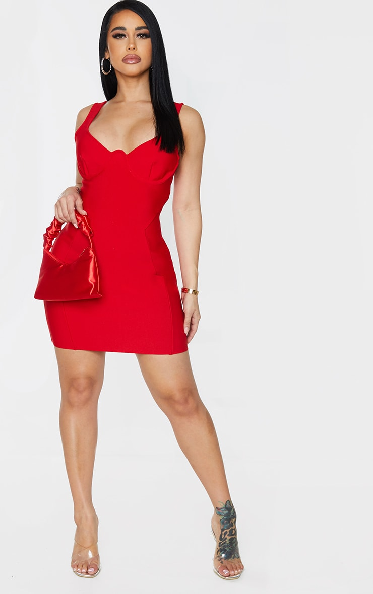 Shape Red Bandage Cup Detail Panelled Bodycon Dress 3
