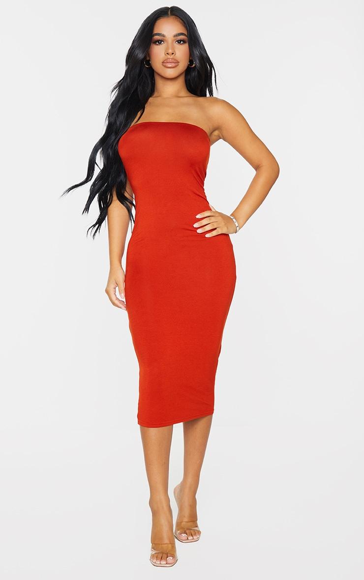 Petite Red Petite Bandeau Jersey Midi Dress 1