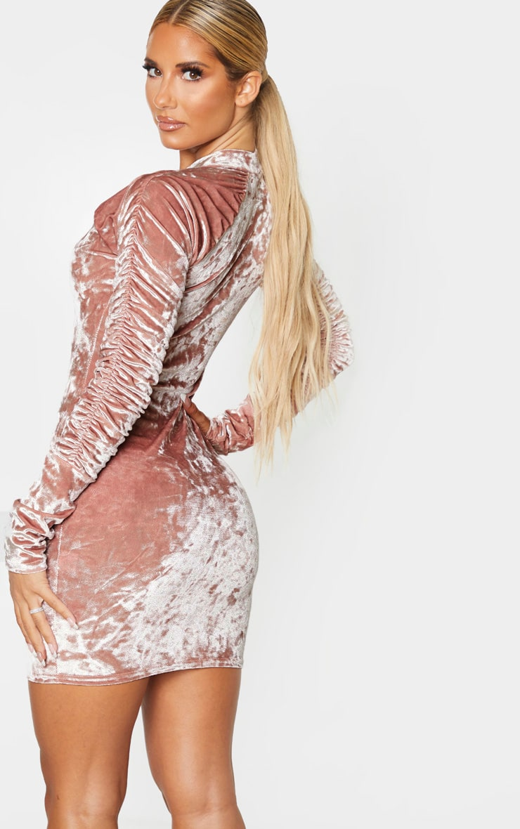 Blush Velvet Ruched Sleeve High Neck Bodycon Dress 2