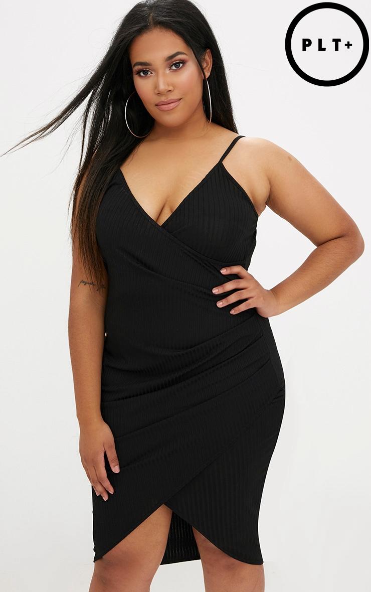 Plus Black Ribbed Cami Midi Dress 1