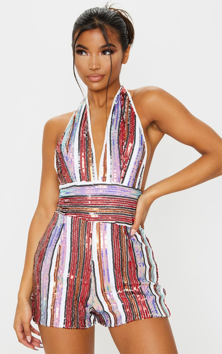 Multi Stripe Sequin Halterneck Playsuit 3