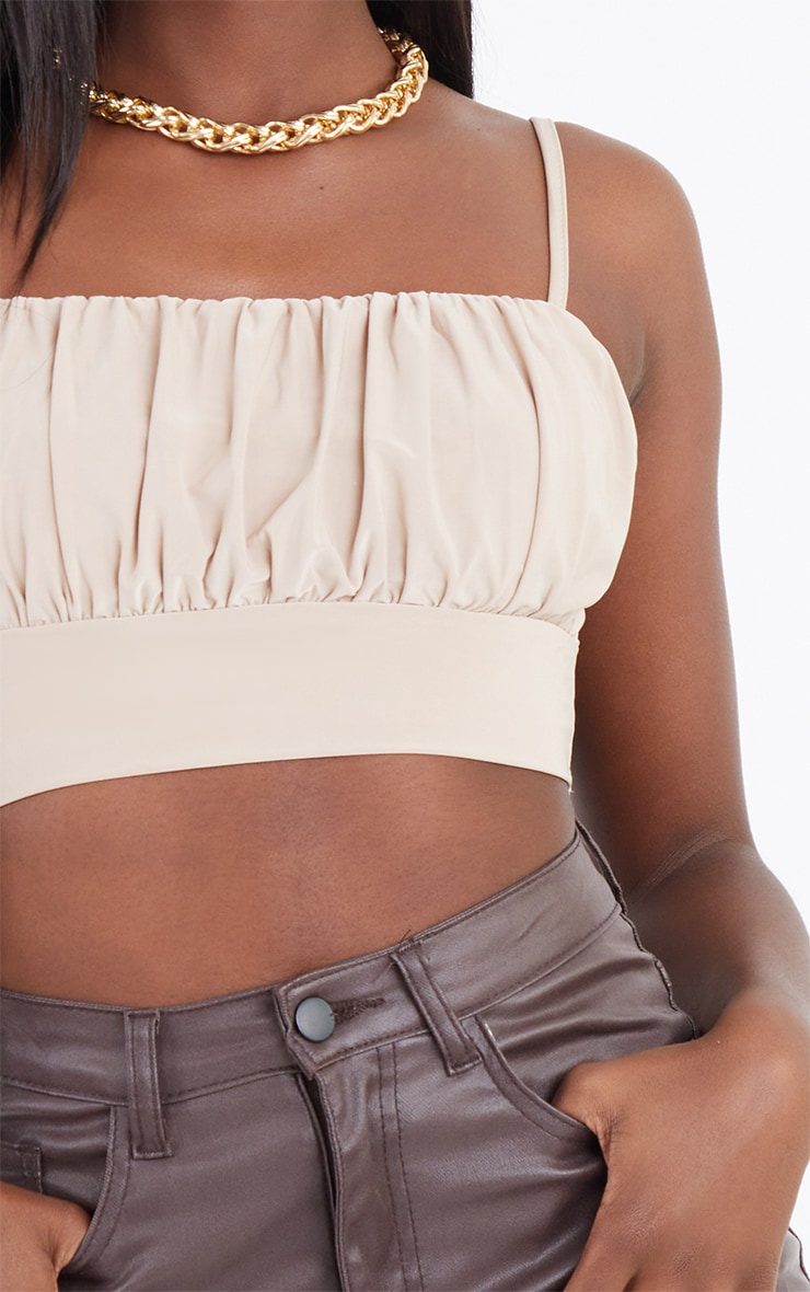 Sand Slinky Ruched Bust Crop Top 4