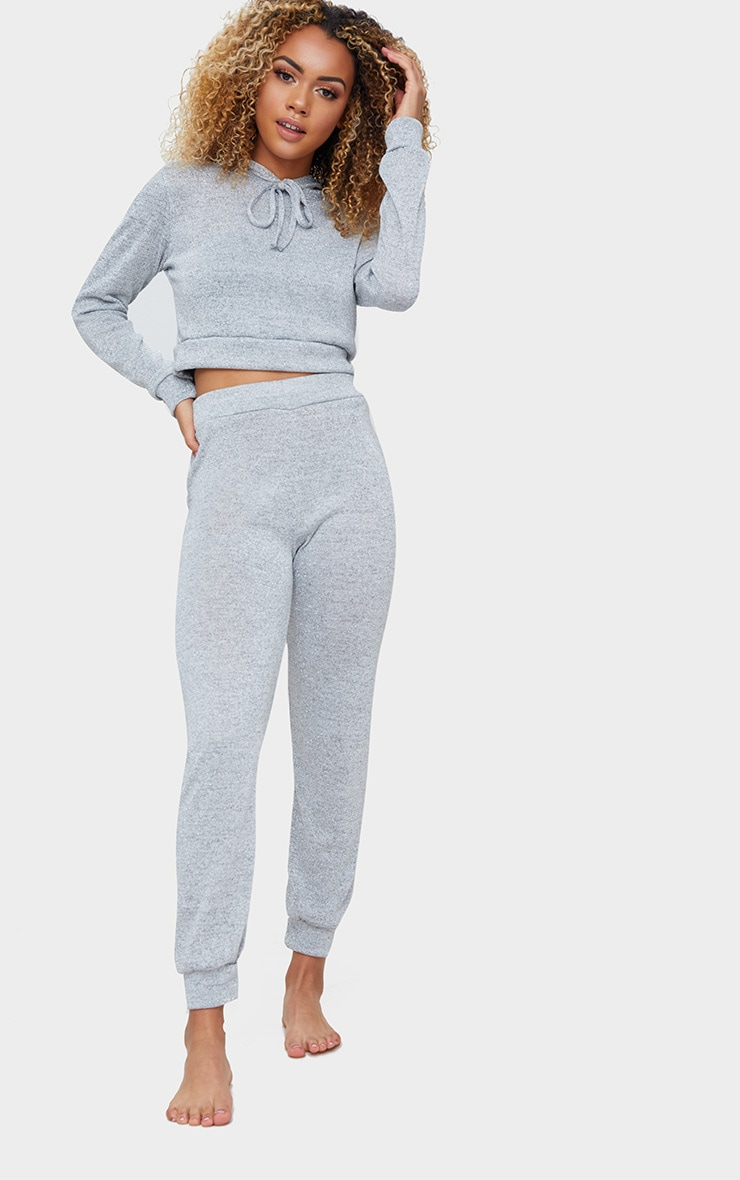 Grey Cropped Lurex Lounge Set