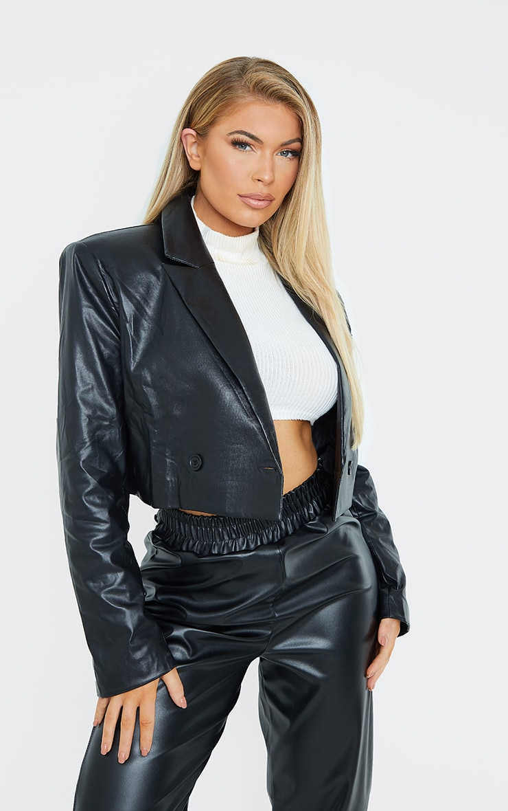 Black PU Cropped Shoulder Padded Blazer 1