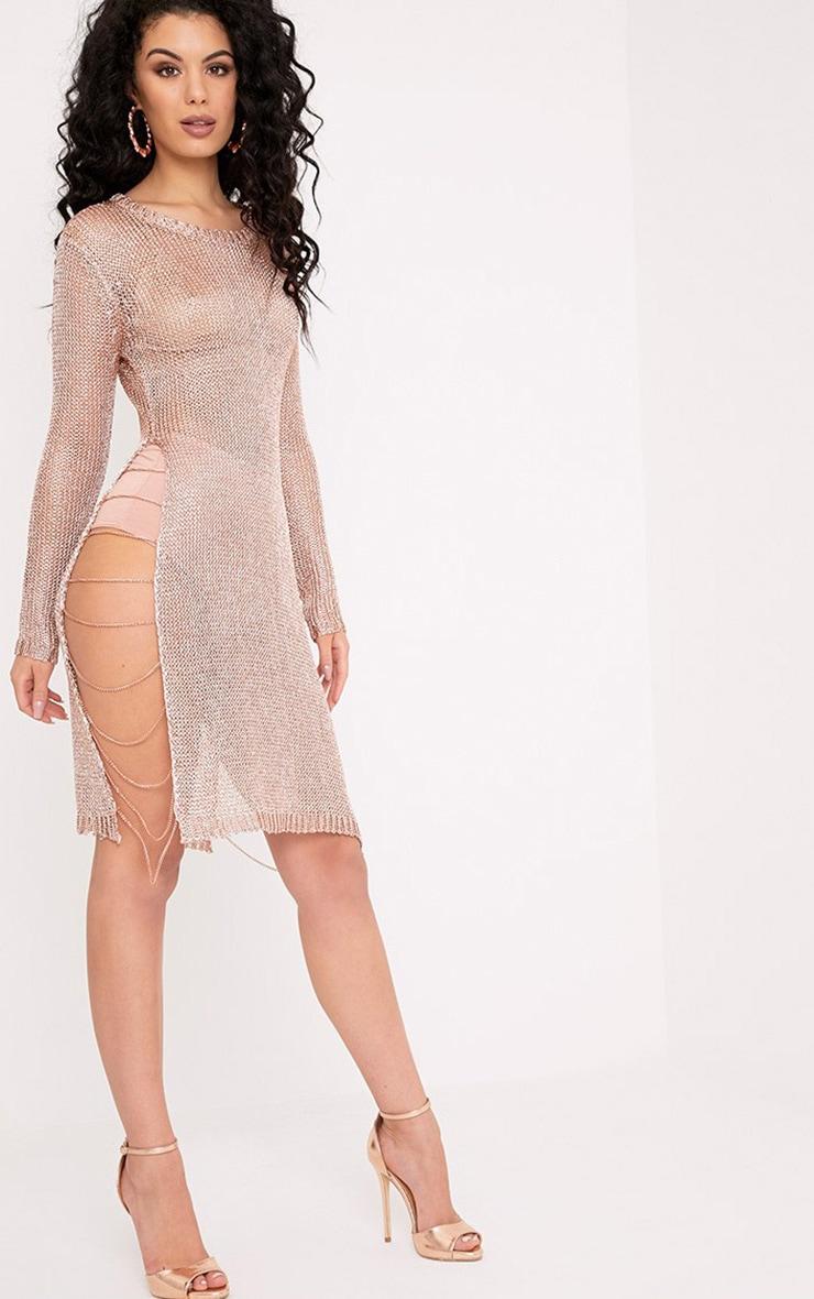 Lilianna robe mini transparente en maille métallisée rose doré et chaines 1