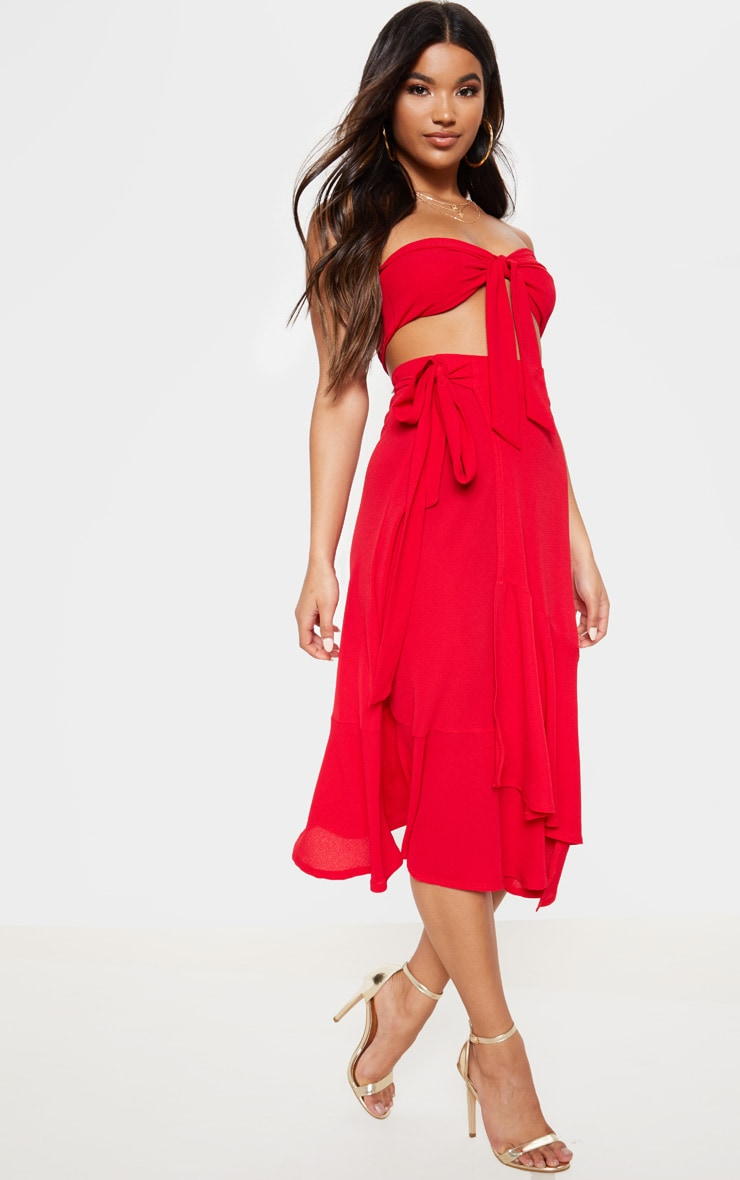 Red Frill Hem Wrap Midi Skirt 1