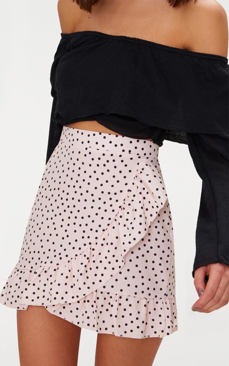 Nude Spot Print Frill Hem Wrap Mini Skirt 6