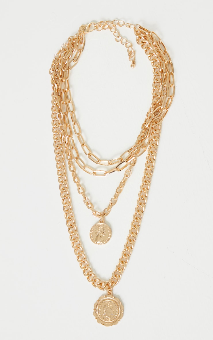 Gold Chunky Layering Double Pendant Necklace 3