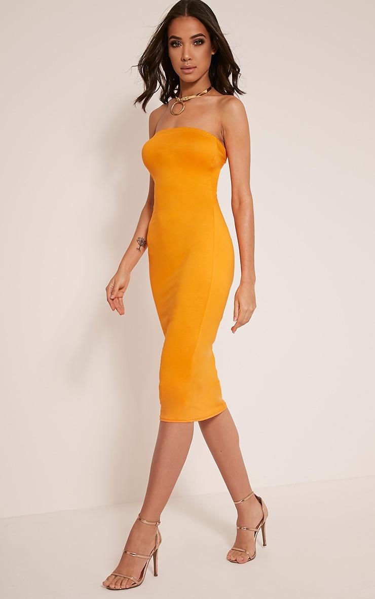 Basic Bright Orange Jersey Bandeau Midi Dress 4