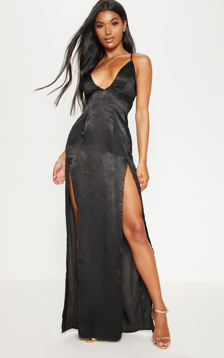 Black Satin Slip Maxi Dress 1