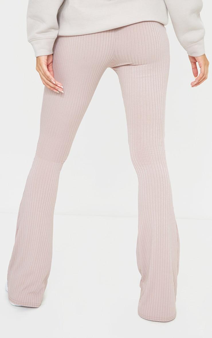 Mauve Ribbed Flared Pants 3