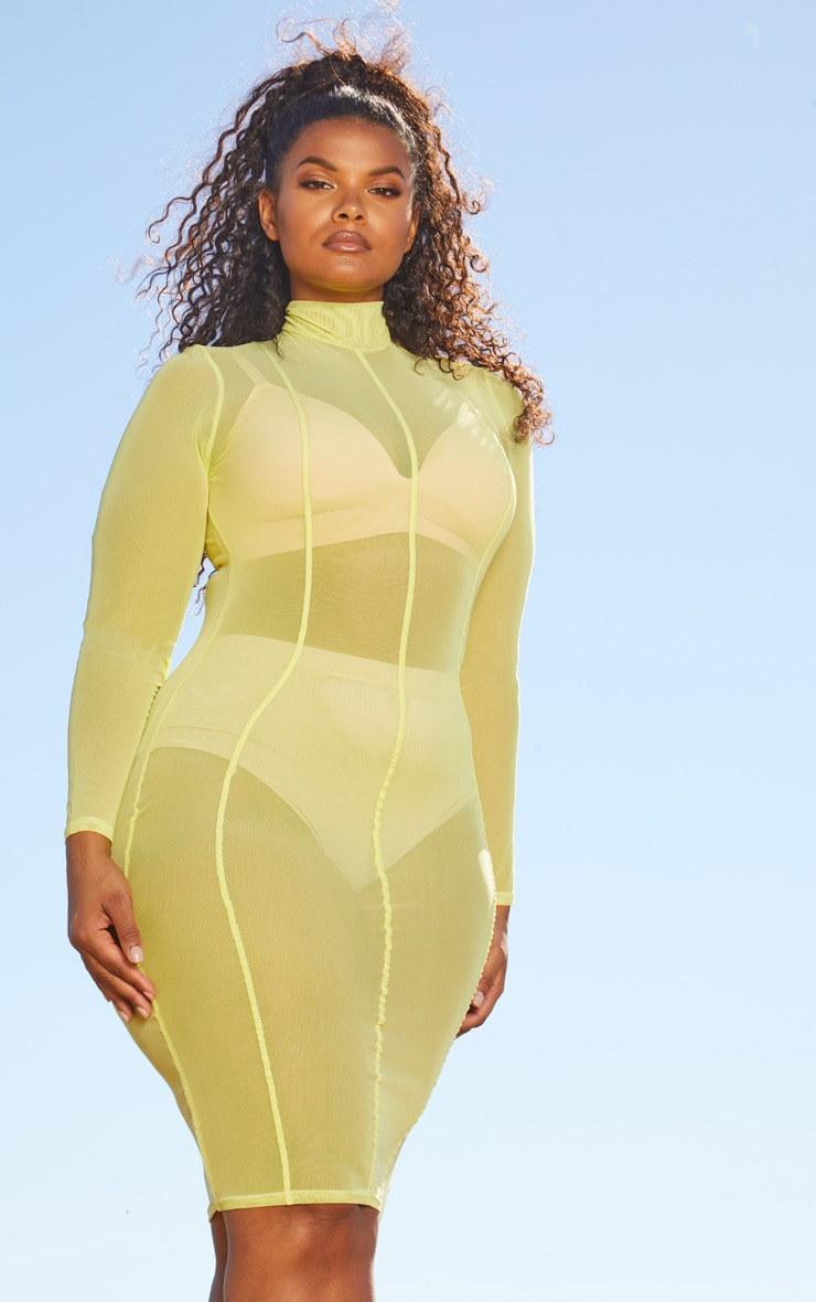 Plus Lime Second Skin Sheer Mesh Midi Dress 1