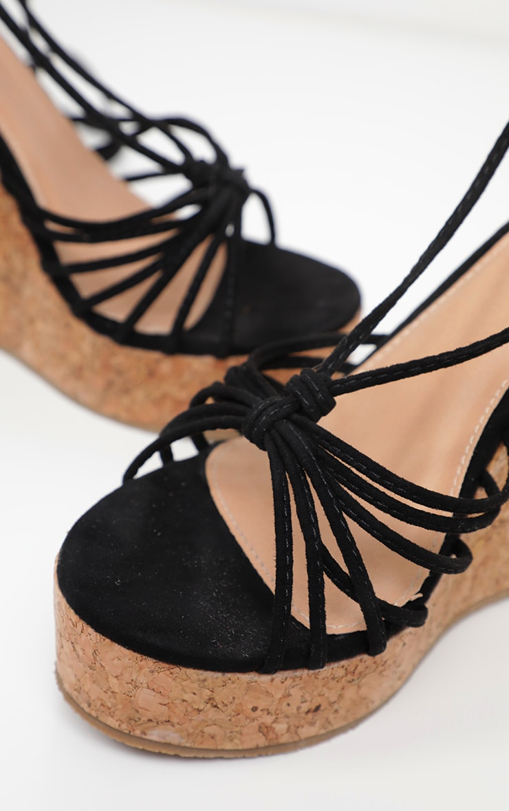Black Strappy Lace Up Cork Wedge 4