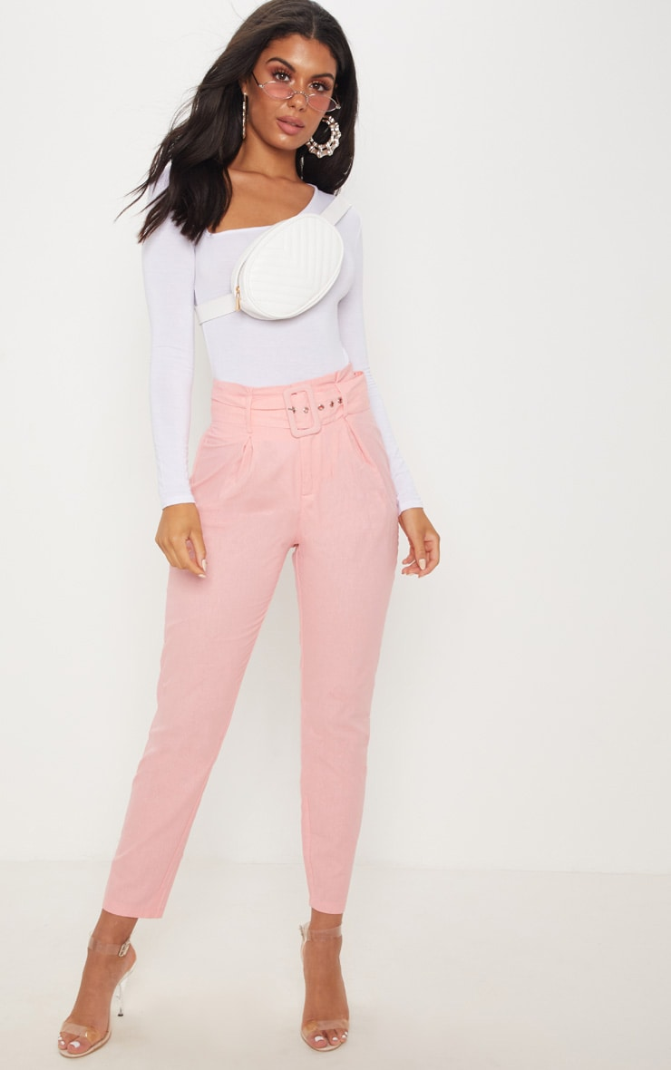 Pastel Pink Belted Paperbag Tapered Trouser
