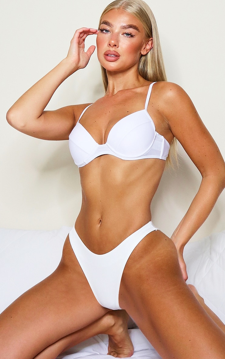 White Mix & Match Push Up Cupped Bikini Top 1