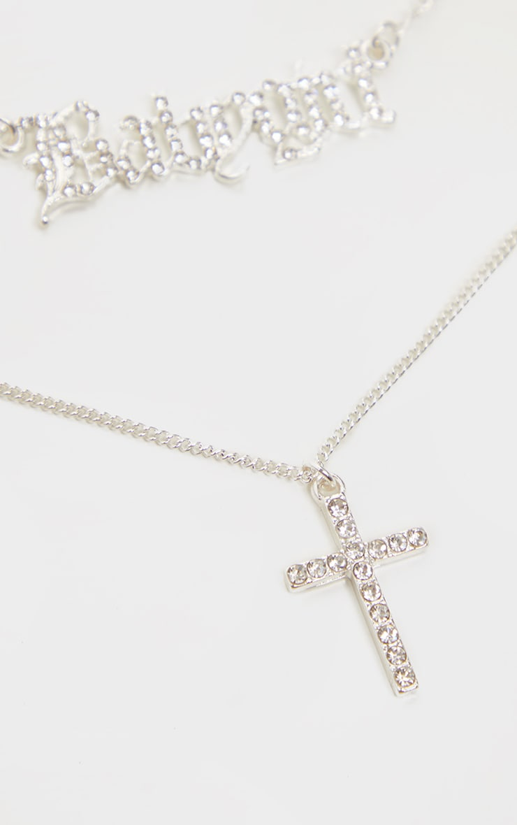 Silver Triple Layer Babygirl And Cross Necklace 4