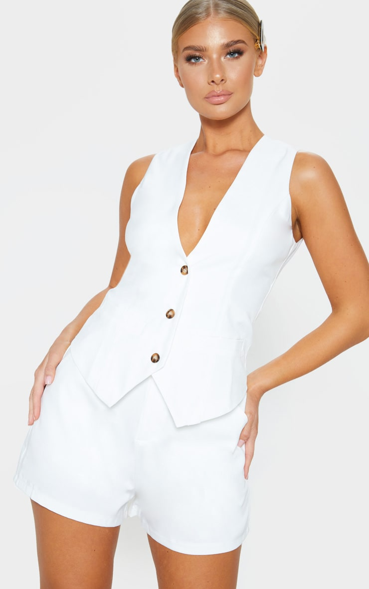 Cream Fitted Waistcoat