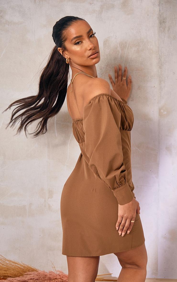 Chocolate Button Detail Bardot Bodycon Dress 2