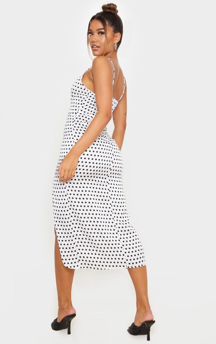 White Polka Dot Satin Midi Slip Dress 2