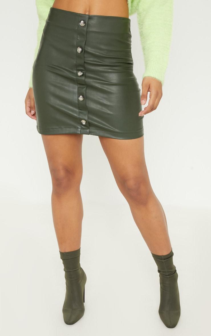 Tall Khaki  Faux Leather Button Detail Bodycon Skirt 2