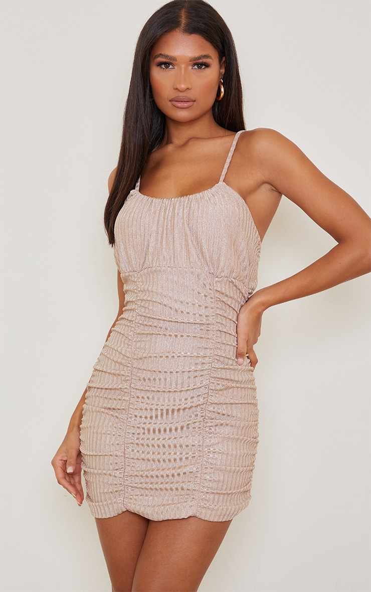 Gold Glitter Rib Strappy Ruched Detail Bodycon Dress 3