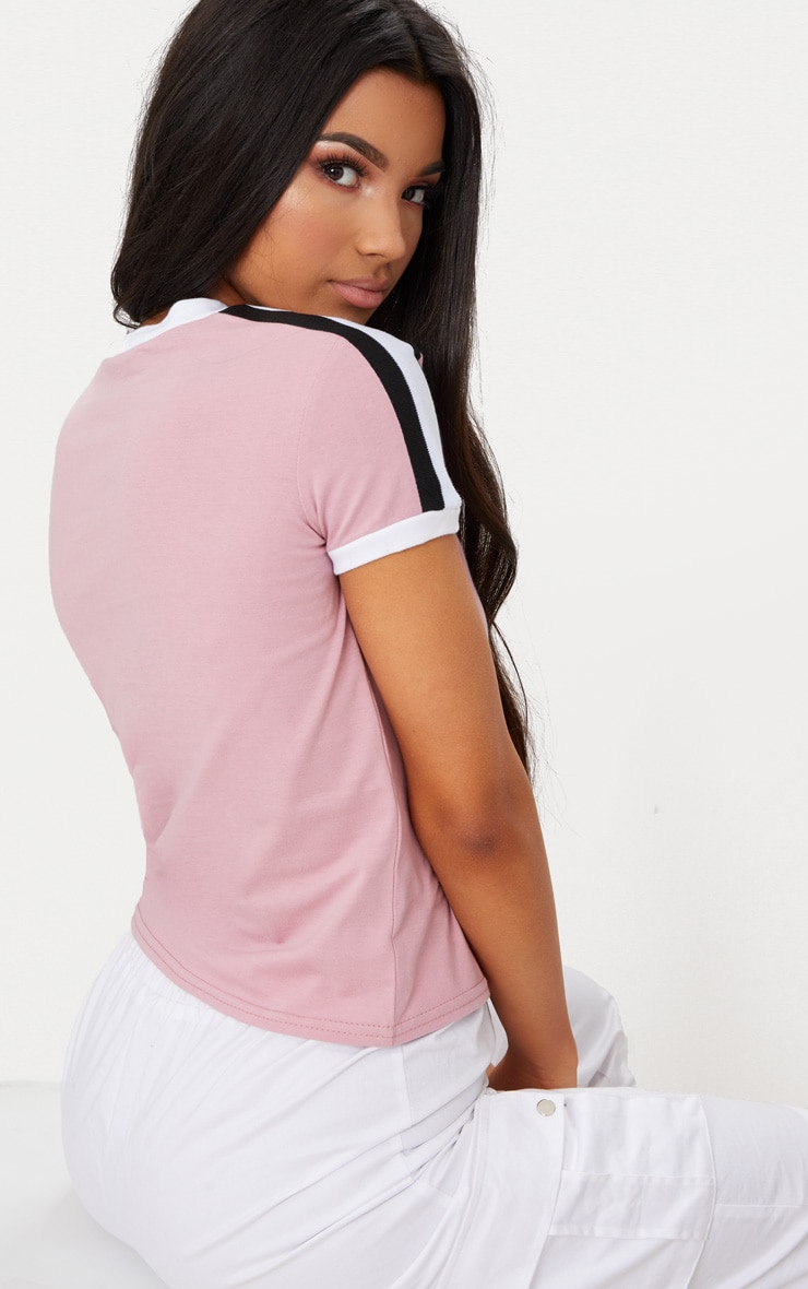 Rose Triple Stripe Shoulder T Shirt  2