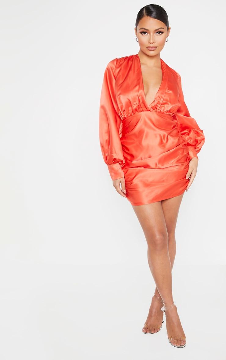 Petite Orange Satin Oversized Sleeve Mini Dress  4