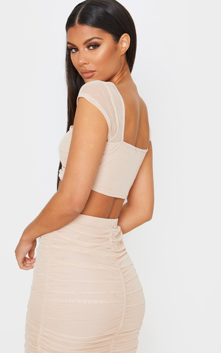 Nude Mesh Ruched Front Crop Top 2
