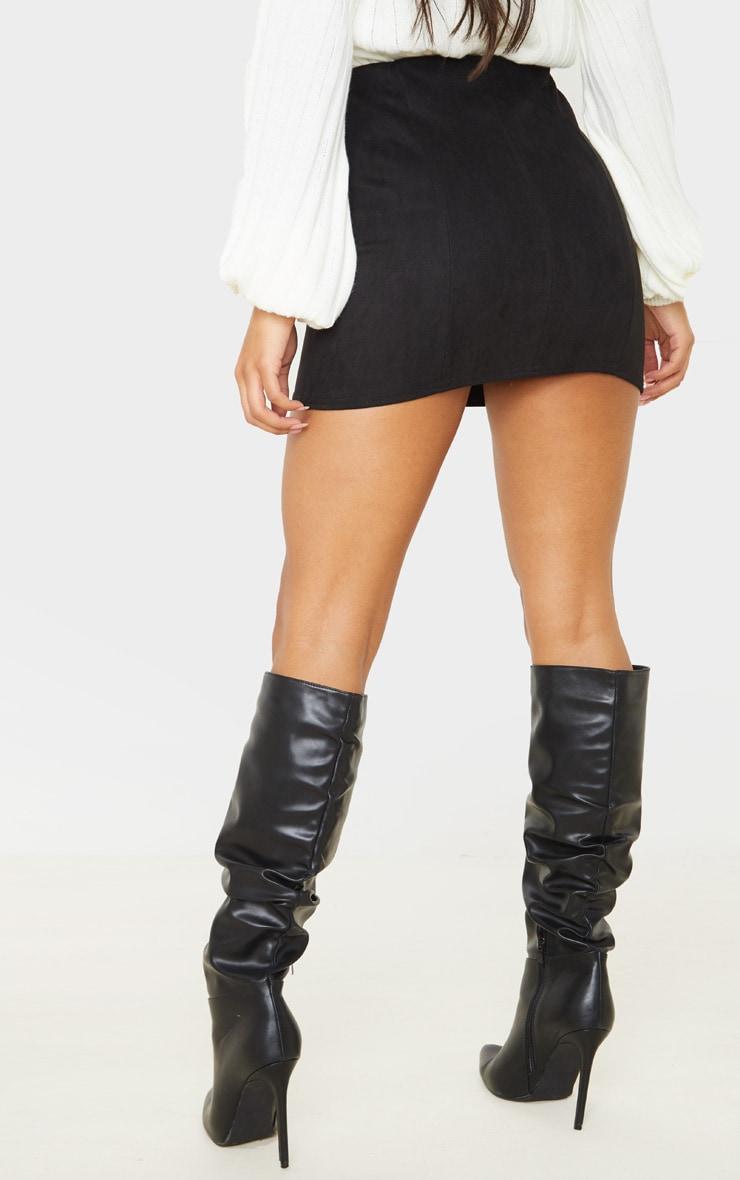 Black Faux Suede Seam Detail Mini Skirt  4