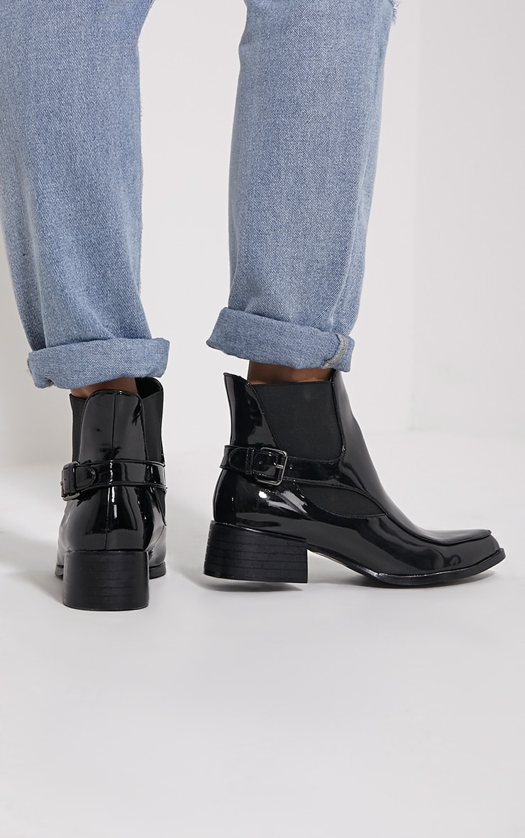 Nynette Black Patent Pointed Ankle Boots 2