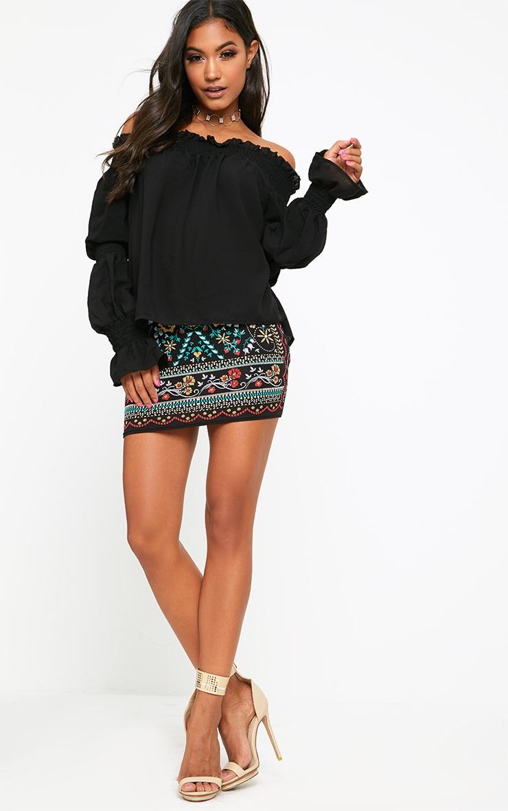 Black Bardot Shirred Detail Longsleeve Blouse  4