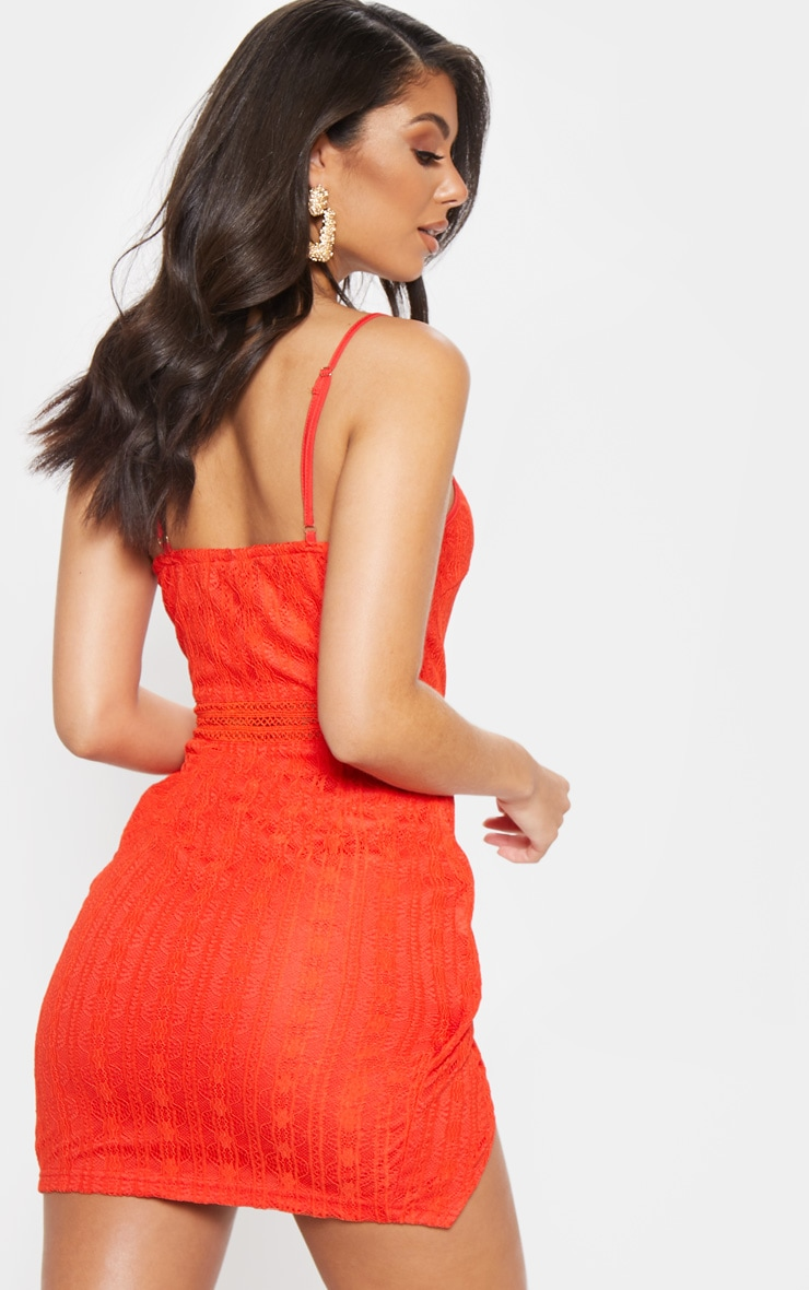 Red Lace Wrap V Cut Bodycon Dress  2