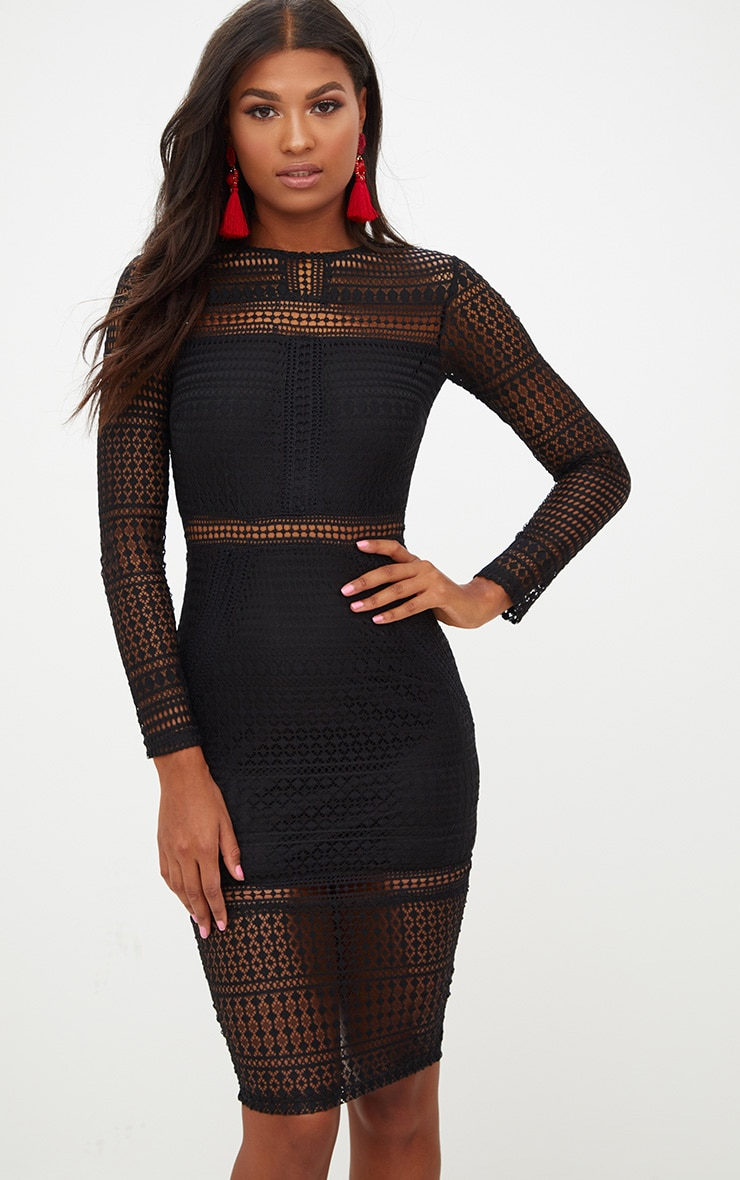 Black Lace Long Sleeve Midi Dress 1