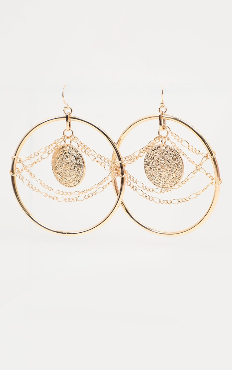 Gold Hammered And Chain Hoop Earrings 1