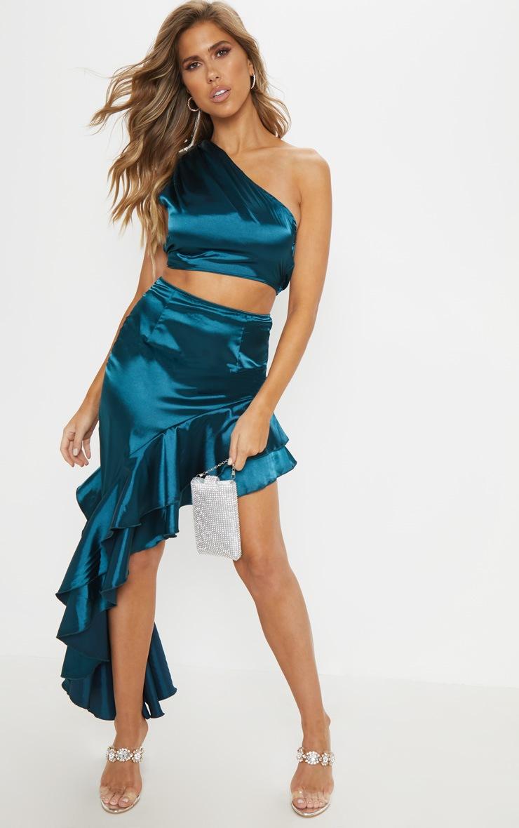Teal Asymmetric Frill Midaxi Skirt 1