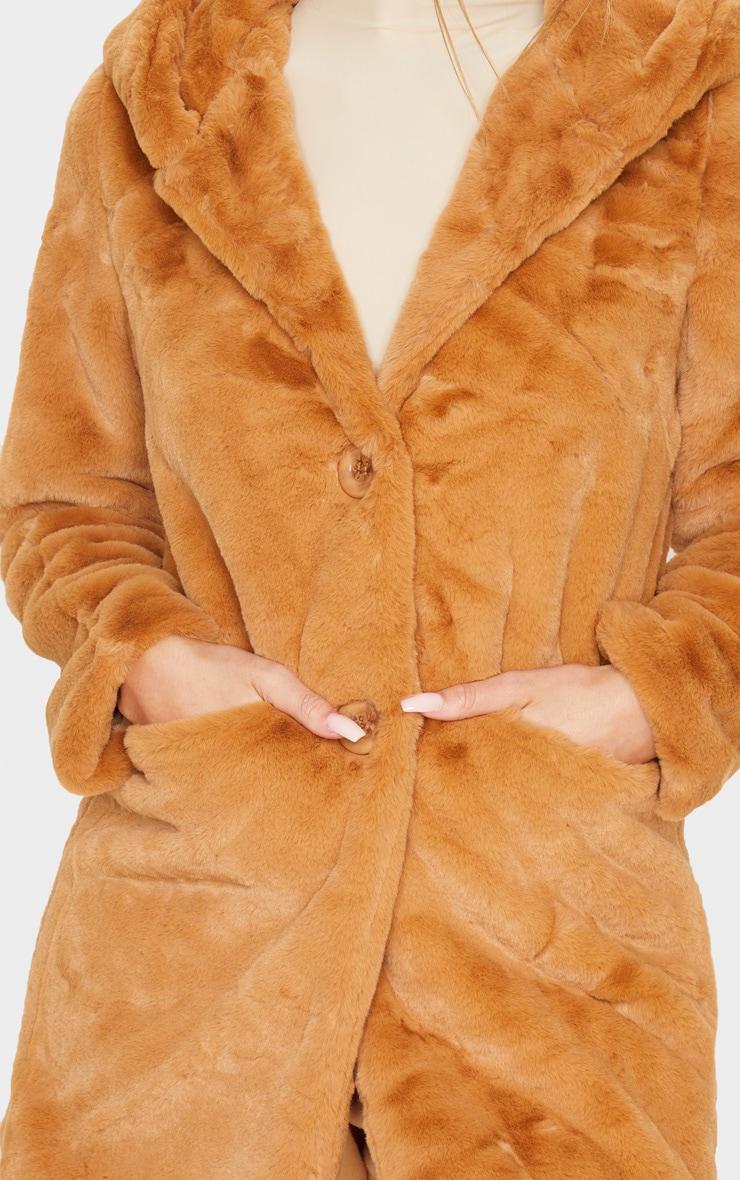 Camel Hooded Faux Fur Midi Coat 4