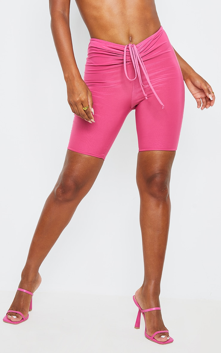 Hot Pink Slinky Ruched Waist Cycle Shorts 2