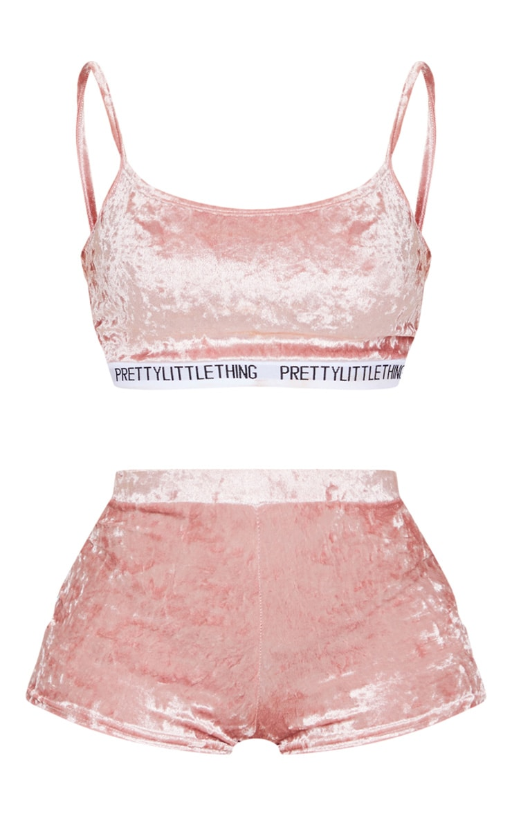PRETTYLITTLETHING Baby Pink Velvet Tape Lounge Set 5