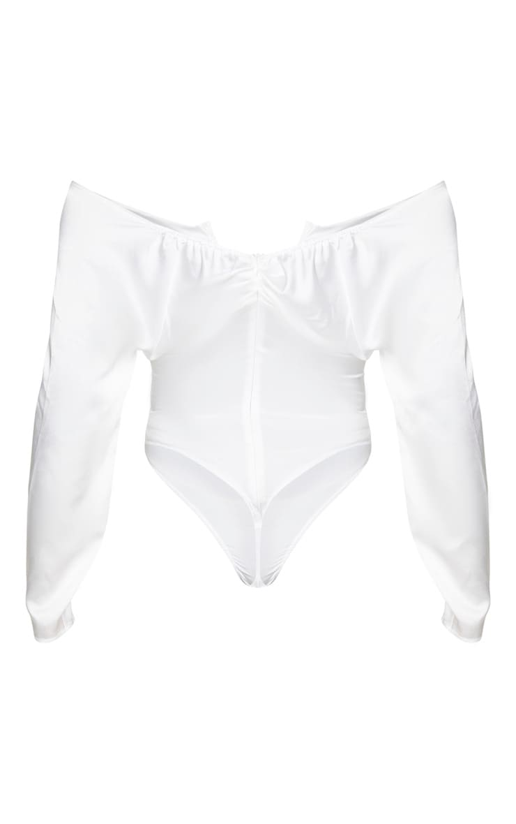 Cream Woven V Wire Ruched Bardot Bodysuit 4